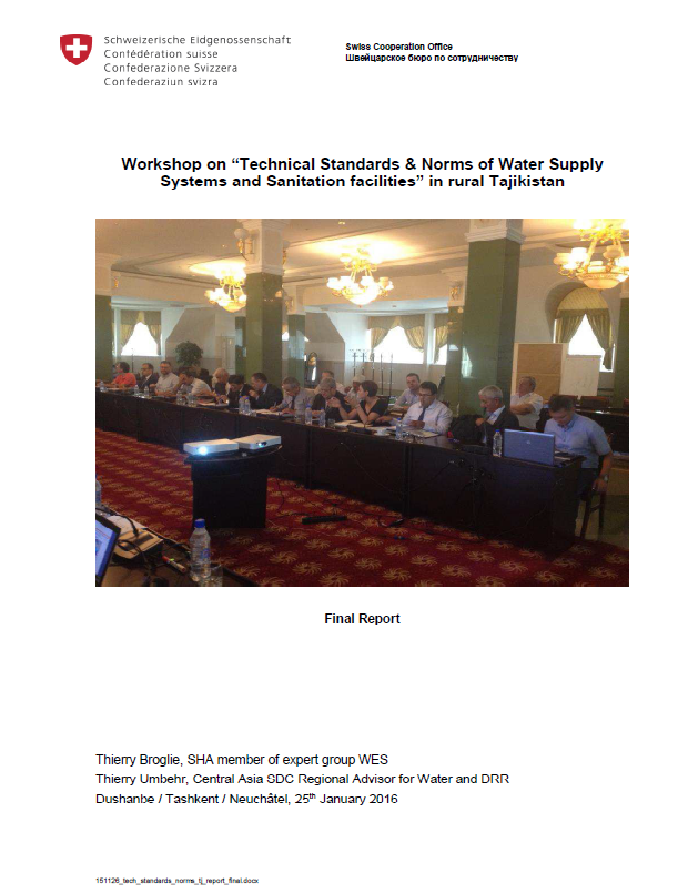 "Report on ""Technical Standards & Norms of Water Supply Systems and Sanitation facilities"" in rural Tajikistan"